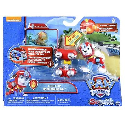 Paw Patrol Sea Patrol Light Up Marshall with Pup Pack & Mission Card-New Release