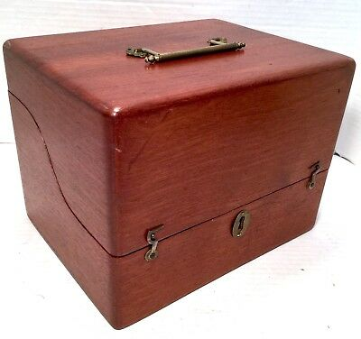 Wood Box Whitall Tatum Apothecary Quack Machine Hinged Vtg Antique Chest
