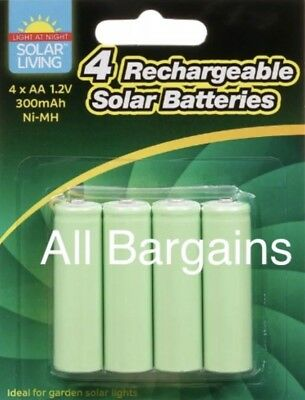 8 x AA Rechargeable Solar Power Batteries 1.2V 300 mah NI-MH garden Summer light