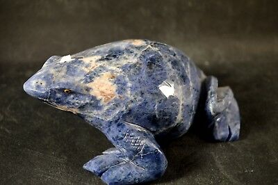 Grenouille en Sodalite  sculpture en pierre 130x105mm