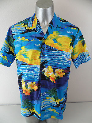 Ali'i Hawaiian Aloha Camp Hibiscus Floral Large Button Front Shirt Made in USA