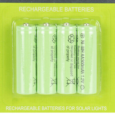 4 X AA Rechargeable Solar Power Batteries 1.2V 300 mah NI-MH Garden Summer Light