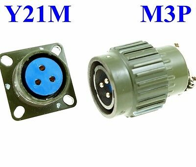22mm M  3P Electrical Connector Military PLUG Male Pin + Base Female Receptacle