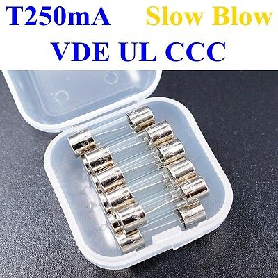 10, Glass Fuses 5T VDE UL 0.25A T0.25A 5x20MM DELAY ACTING / SLOW BLOW T250mA