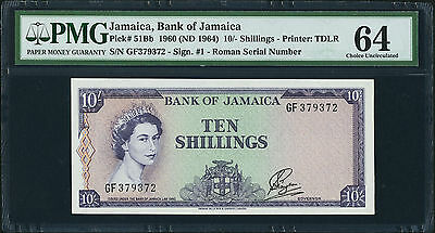 10 Shillings 1960 (ND 1964) Bank Of Jamaica PMG 64 Choice Uncirculated