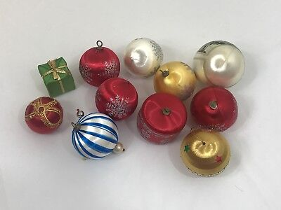 Vintage Satin Stenciled Glitter Christmas Ornament Lot 11 includes Currier Ives