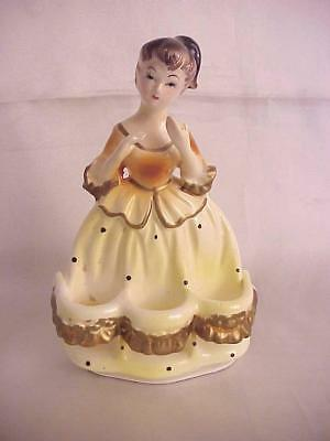 Vintage 1950's Chadwick Lady in Yellow Dress Lipstick Holder in Original Box