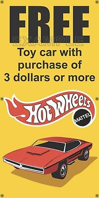Shell Gas Station Free Hot Wheels Car Old School Sign Remake Banner Art 2' X 4'