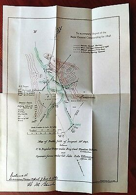 1898 Sketch Map Battlefield Gatling Guns, US Gen Schwan, Mayaguez Puerto Rico