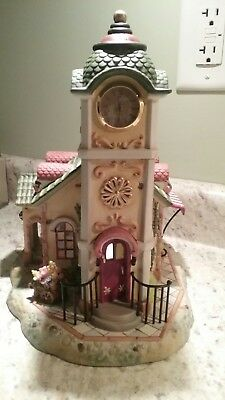 PartyLite Olde World Village Clock Tower in Box With Flower Cart