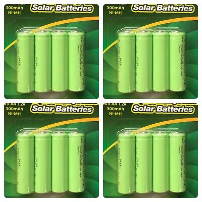 16 x AA Rechargeable Solar Power Batteries 1.2V 300mah NI-MH Garden Summer Light