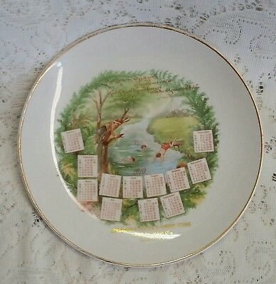 Vintage 1910 Advertising Calendar Plate Springfield Butter Coffee Store Chicago
