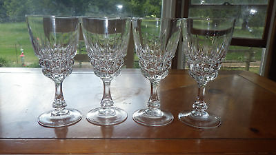 Fine Crystal Water Goblets Glasses in Pompadour by Cristal D'Arques-Durand 4 8oz