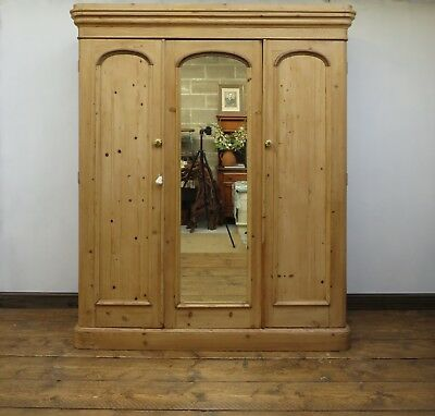Linen Press Pine Triple Wardrobe, Victorian Pine, Substantial in size, Rare!