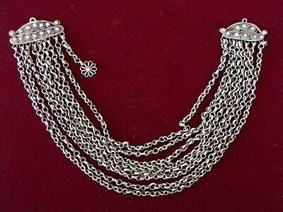 ANTIQUE hand filigree silver and hand-knit chains Ottoman jewelry kyustek 19th C