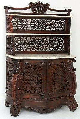 Pierced Carved Rosewood Marble Top Rococo Etagere, J. J. W. Meeks