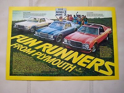 1977 Plymouth Volare Road Runners - Original Print Car Ad - Ex Cond