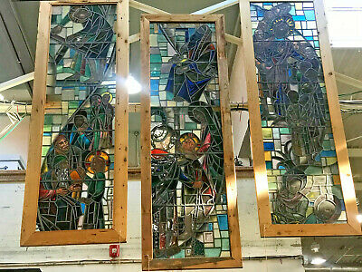 Antique Stained Glass Religious Window Birth of Jesus - 13.6 ft tall
