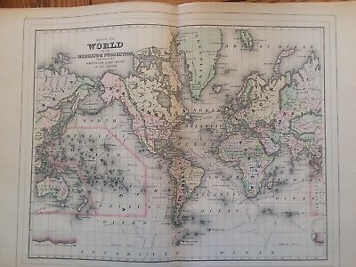 Antique Map of the world 1893 Mitchell's Family Atlas