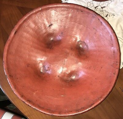 """Antique Burmese Red Lacquerware Footed Bowl 15"""" Kwet"""