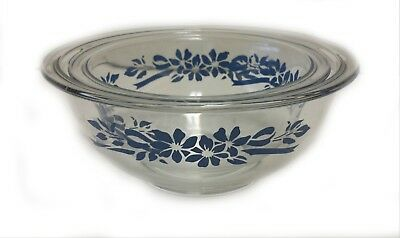 Vintage Pyrex TWO Nesting Mixing Bowls Clear Glass with Blue Flowers 322 and 323