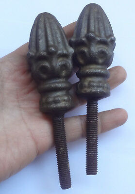 2 Antique Cast Iron Finials with Screw Bed ? Fence ? 3 1/4'' Long Heavy 15 oz