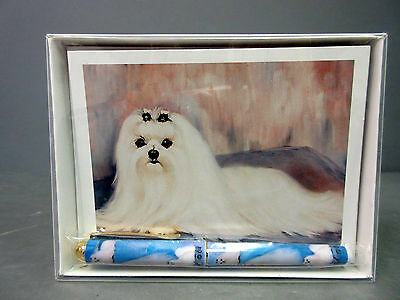 New Maltese Pet Dog 6 Notecards Envelopes & Pen Gift Set Pugs Dogs Ruth Maystead