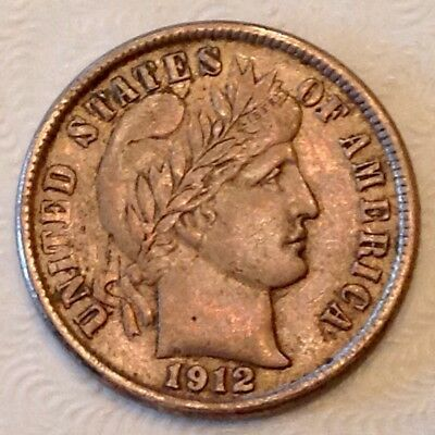 1912 D US Barber Dime Ten 10 Cents