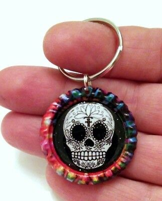 SUGAR SKULL Key Chains - 5 designs left STOCK SELL-OFF - US Maker FREE SHIP