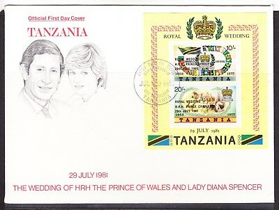 Tanzania 1981 Royal Wedding First Day Cover Miniature Sheet Unn