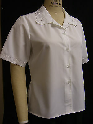 Ladies EMBROIDERED BUTTON  BLOUSE! MISSY SIZES! PINK, WHITE, BLACK, SHORT SLV