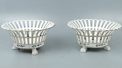 Rare Matched Pair of Tucker & Hemphill Porcelain Reticulated Fruit Baskets - PC