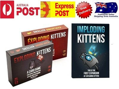 Exploding Kittens ORIGINAL, NSFW Edition & Imploding Kittens CARD GAME- AU Versn