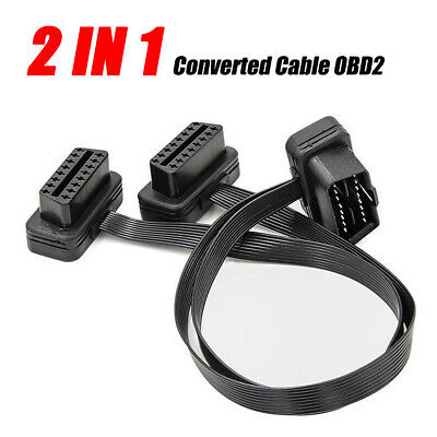 40CM OBD2 Flat Cable Extension Splitter 16 Pin Male to Dual Female Y OBD Cable