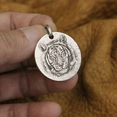 Engraved 999 Sterling Silver Tiger King Sharp Claw Mens Biker Punk Pendant 9X302