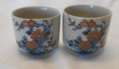 Set of 2 Stoneware Chinese / Oriental Tea cups Blue & Brown Floral