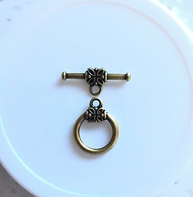 "Toggle/Clasp, Antique Brass-plated ""Pewter"". 14mm Round. 4 sets per pack."