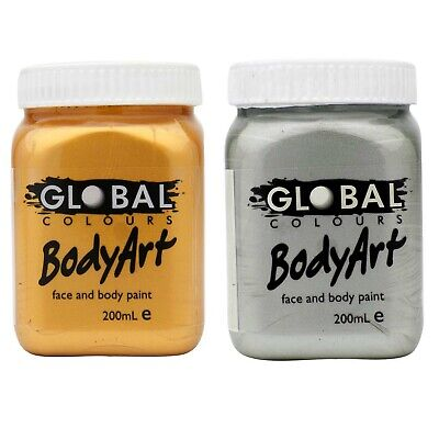 Metallic Gold or Silver Face Paint Body Art Global Colours 200ml Jar