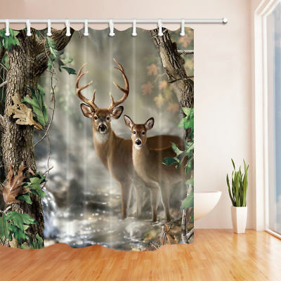 Deer Couple In The Woods Shower Curtain Bathroom Fabric 12hooks 7171inches