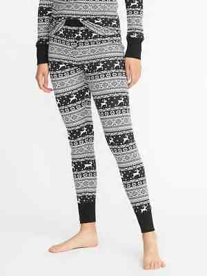 cb473b2c47 NWT Old Navy Thermal Waffle Pajama Pants Leggings Reindeer Games Women Tall  L