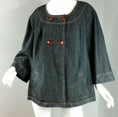 32d60d8ae814b Cato Woman Denim Jacket Size 26 28W Dark Wash 3 4 Sleeves Buttons Pockets