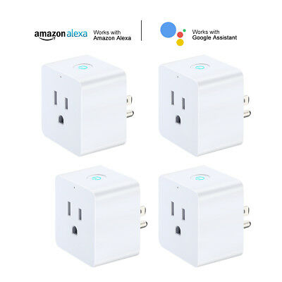 4 Pack WiFi Smart Plug Mini Outlet Energy Saving Alexa Google Home APP Remote US