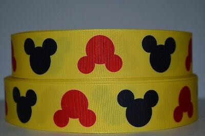 """1 yd 1.5"""" Grosgrain Ribbon MICKEY MOUSE BLACK & RED PRINTED ON YELLOW."""