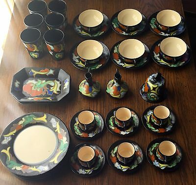 "41 Pieces Vintage 1930s Royal Gouda Pottery ""Favorite"", Cups, Glasses, Plates"