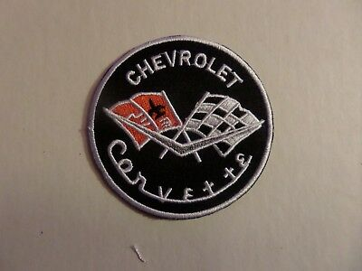 CORVETTE silver & BLACK   Embroidered 3 x 3 Iron Or Sew On Patch