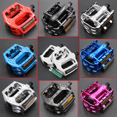 2Pcs MTB Mountain Bike Pedals Flat Aluminum Alloy Platform Sealed Bearing 9/16""