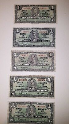 Bank Of Canada 1937-5-$1 Rare  Canadian Bank Note      Selling 1 Note For $22