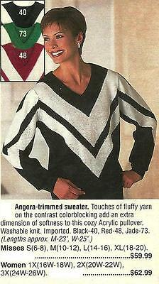 Angora Wool Trim Chevron Pullover Long Slv Sweater. Black, Green, Red S- XL 4647