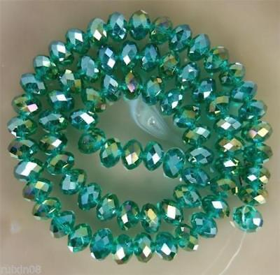 Faceted 100pcs Peacock green AB Rondelle glass crysta 4*6mm Beads DIY Jewelry