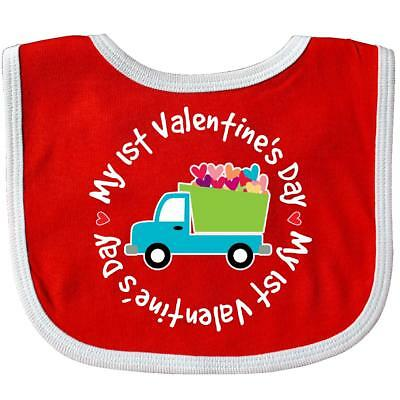 Inktastic 1st Valentines Day Boys Heart Truck Baby Bib Babys First Holiday Cute